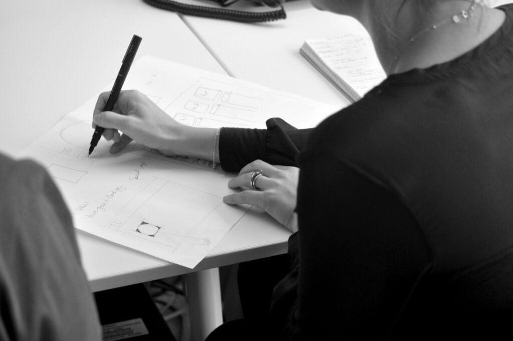 Design team brainstorming in the studio
